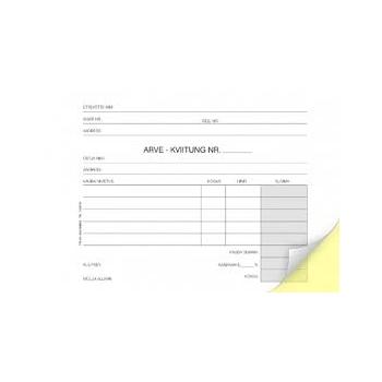 Blankett Arve-Kviitung A6, isekopeeruv, 2 x 50 lehte