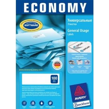 Avery Economy EC9165 A4 100l/pk  105x37mm (16tk/lehel)