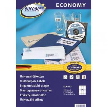 Avery Economy ELA013 A4 100l/pk  70x42,3mm (21tk/lehel)