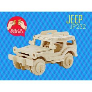 Puidust 3D puzzle Jeep+värvid