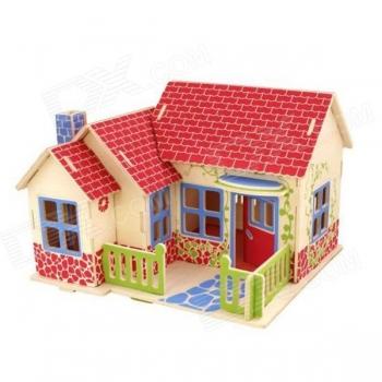 Puidust 3D puzzle Maja Farm+värvid