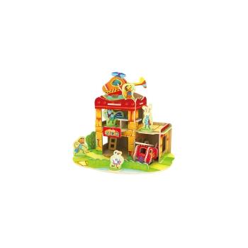 Puidust värvitud 3D puzzle Tuletõrjemaja