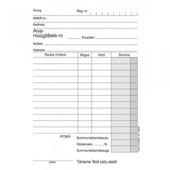 Blankett Arve-müügitšekk A6 pikuti isekopeeruv 2*50