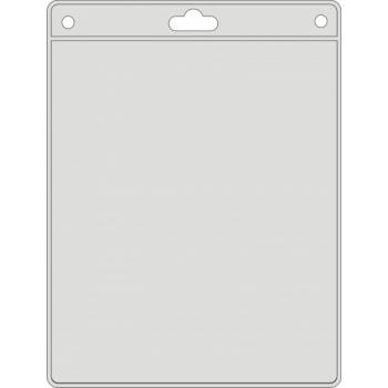 Vertikaalne PVC-nimesilditasku dokumendile. Ülal servas kinnitusriba. (Välimine mõõt 115x175)