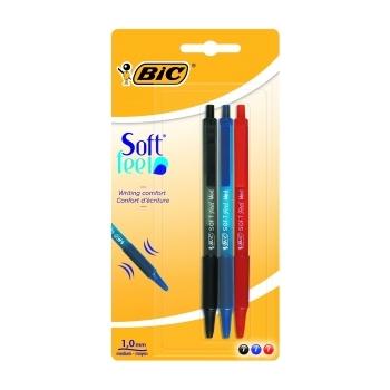 Pastapliiats BIC Soft feel 1,0mm 3tk/pk.(sinine, must, punane)