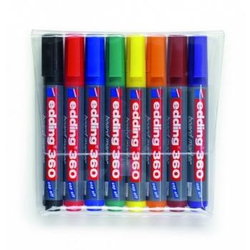 Valgetahvli marker EDDING, ümar ots 1,5-3mm 8värvi/pk