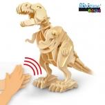 Puidust heliga juhitav 3D puzzle robot T-Rex