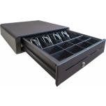 Kassasahtel must,  4 sahtlit metall klambriga, 8 mündisahtlit, võtmest avatav, 410mm laius