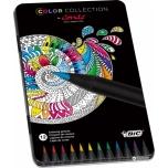 Värvipliiats BIC 12 värvi, metall karbis