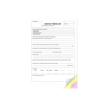 Blankett Kaetud tööde akt  A4 3x25l isekopeeruv