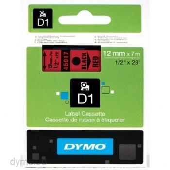 Trükilint DYMO 12mm x 7m must/punane
