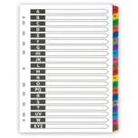 Vahelehed Deli A4 A-Z värvilised kartongist