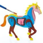 Puidust 3D puzzle Hobune+värvid