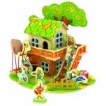 Puidust värvitud 3D puzzle Pipi ja Yaya onnike