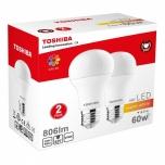 LED pirn Toshiba E27/A60 8,5W=60W 806 lum. 2700K 2tk/pk