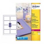 Avery Etikett Glossy A4 40l/pk  99,1x67,7mm